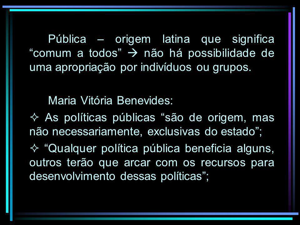 Pública – origem latina que significa comum a todos  não há possibilidade de uma apropriação por indivíduos ou grupos.