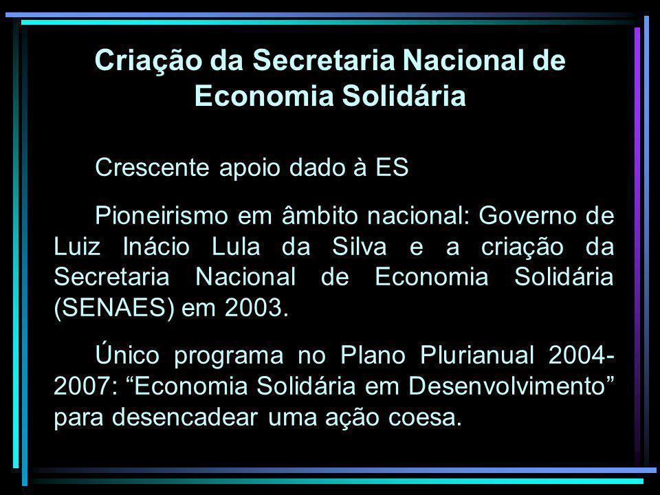 Criação da Secretaria Nacional de Economia Solidária