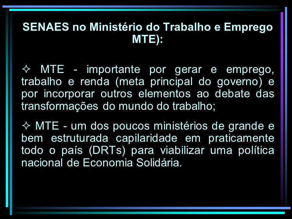 SENAES no Ministério do Trabalho e Emprego MTE):