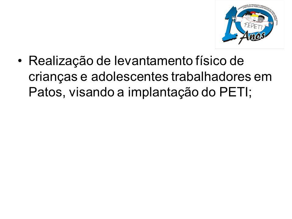 Realização de levantamento físico de crianças e adolescentes trabalhadores em Patos, visando a implantação do PETI;