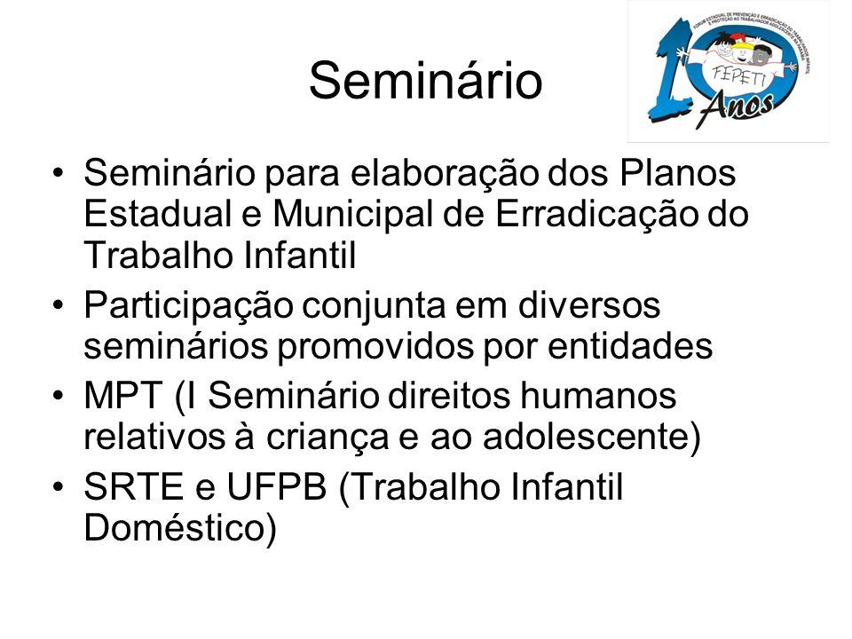 Seminário Seminário para elaboração dos Planos Estadual e Municipal de Erradicação do Trabalho Infantil.