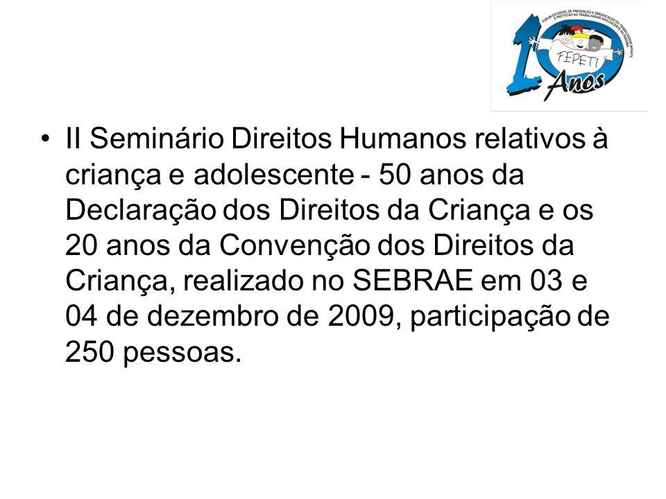 II Seminário Direitos Humanos relativos à criança e adolescente - 50 anos da Declaração dos Direitos da Criança e os 20 anos da Convenção dos Direitos da Criança, realizado no SEBRAE em 03 e 04 de dezembro de 2009, participação de 250 pessoas.