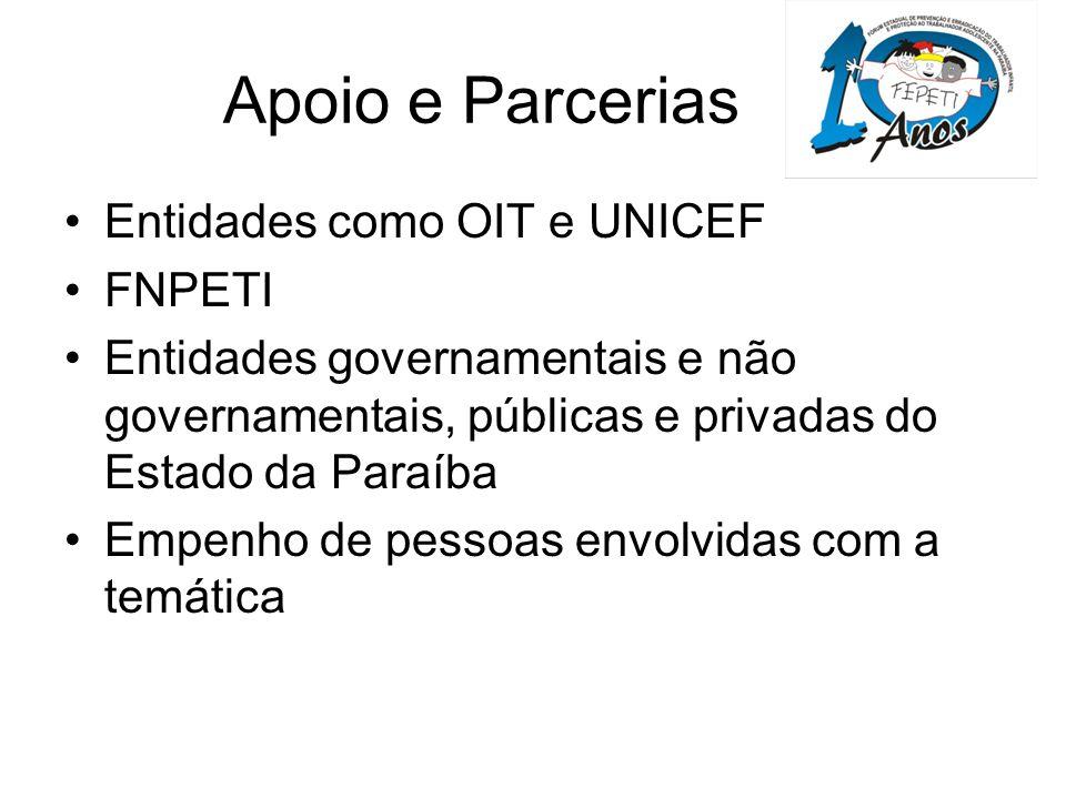 Apoio e Parcerias Entidades como OIT e UNICEF FNPETI