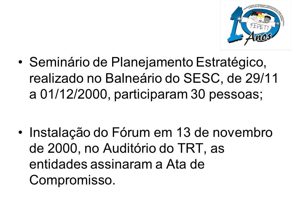 Seminário de Planejamento Estratégico, realizado no Balneário do SESC, de 29/11 a 01/12/2000, participaram 30 pessoas;