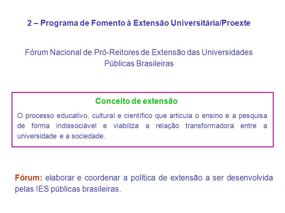 2 – Programa de Fomento à Extensão Universitária/Proexte