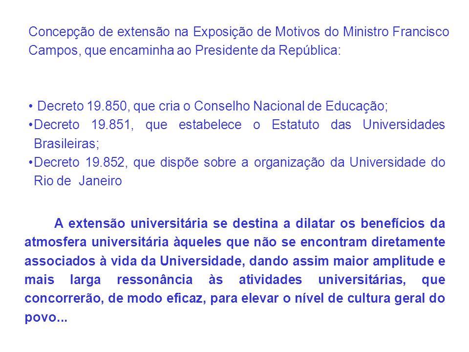 Concepção de extensão na Exposição de Motivos do Ministro Francisco Campos, que encaminha ao Presidente da República: