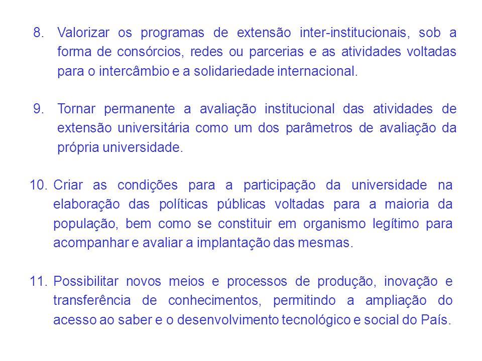 Valorizar os programas de extensão inter-institucionais, sob a forma de consórcios, redes ou parcerias e as atividades voltadas para o intercâmbio e a solidariedade internacional.