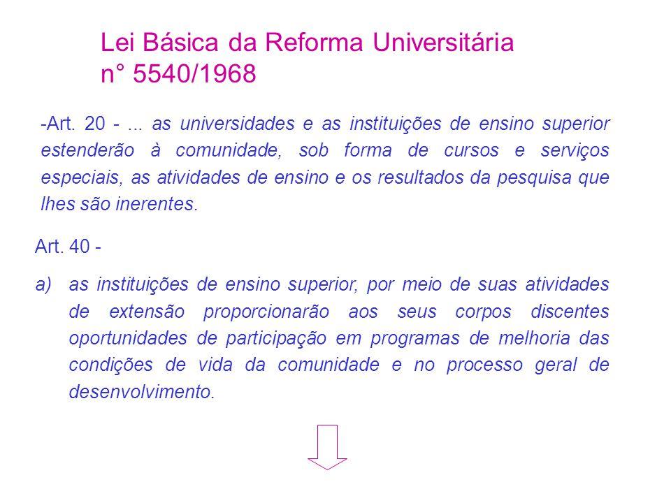 Lei Básica da Reforma Universitária n° 5540/1968
