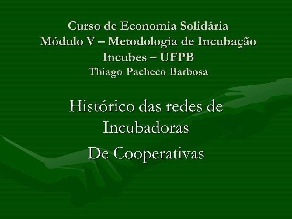 Histórico das redes de Incubadoras De Cooperativas