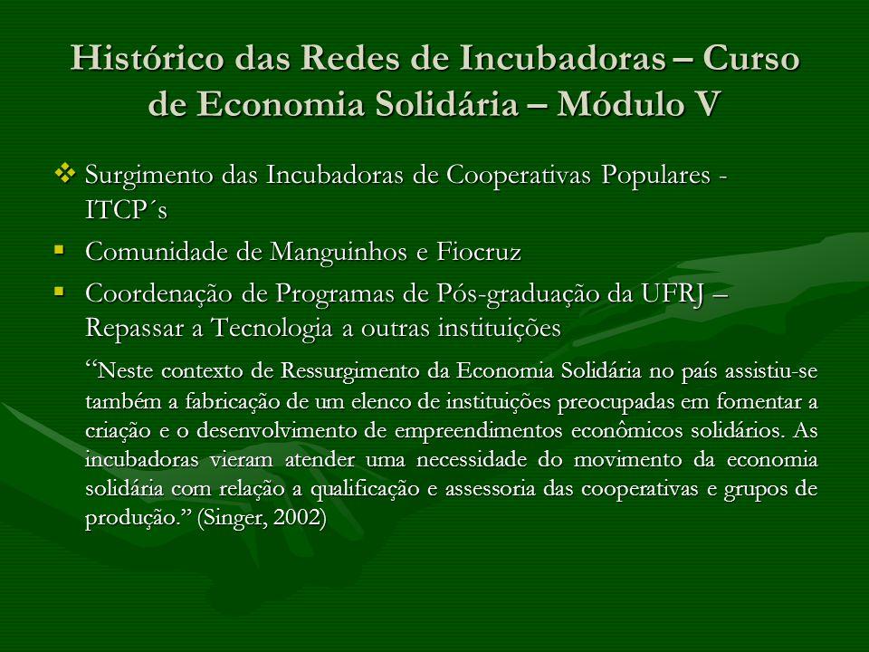 Histórico das Redes de Incubadoras – Curso de Economia Solidária – Módulo V