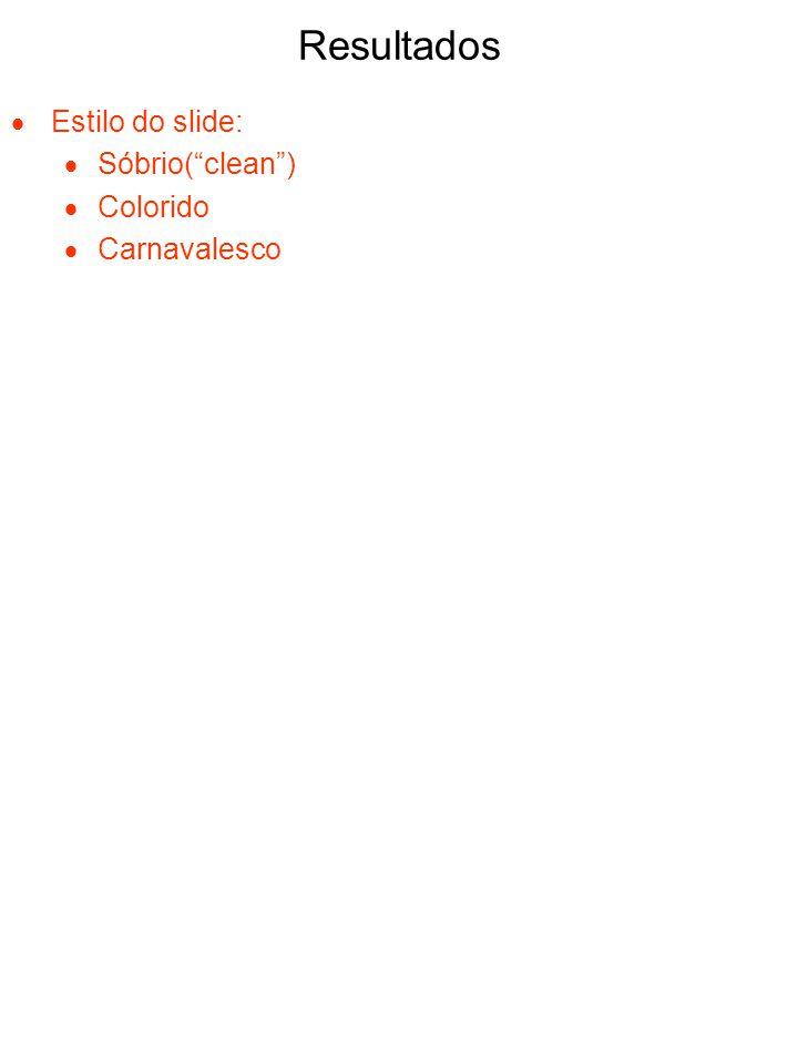 Resultados Estilo do slide: Sóbrio( clean ) Colorido Carnavalesco