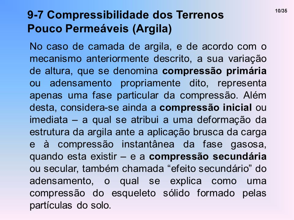 9-7 Compressibilidade dos Terrenos Pouco Permeáveis (Argila)