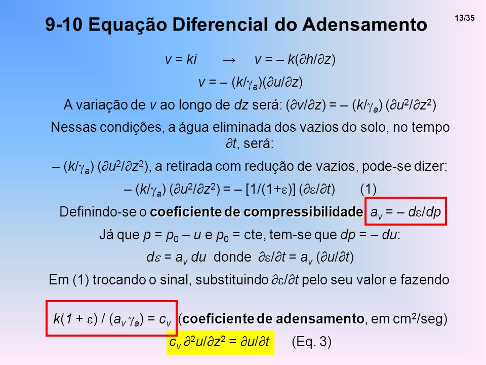 9-10 Equação Diferencial do Adensamento