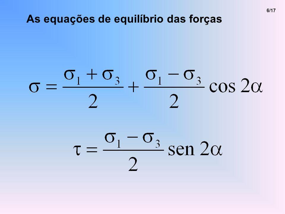 As equações de equilíbrio das forças