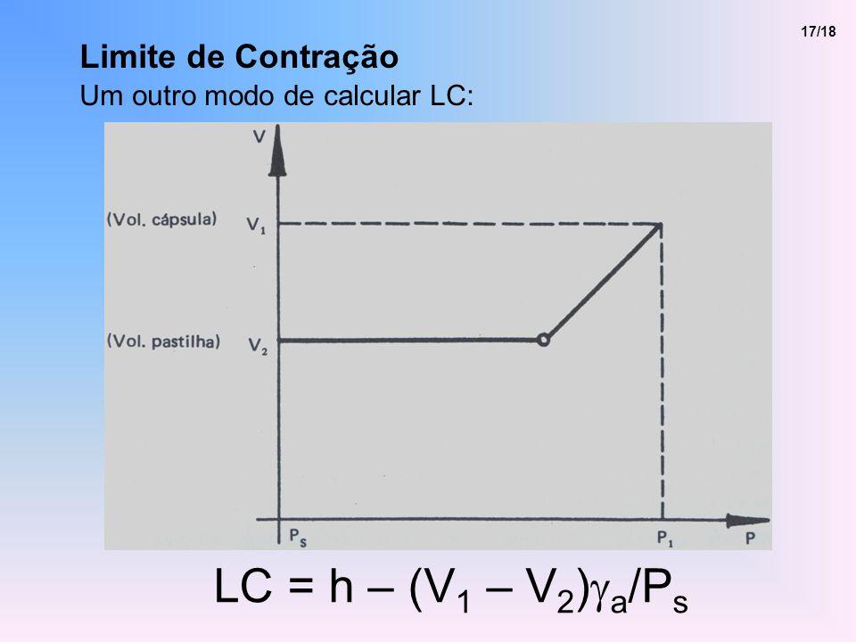 LC = h – (V1 – V2)ga/Ps Limite de Contração
