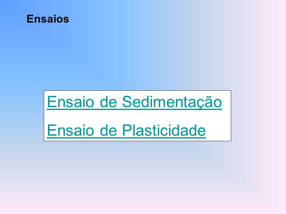 Ensaio de Sedimentação Ensaio de Plasticidade