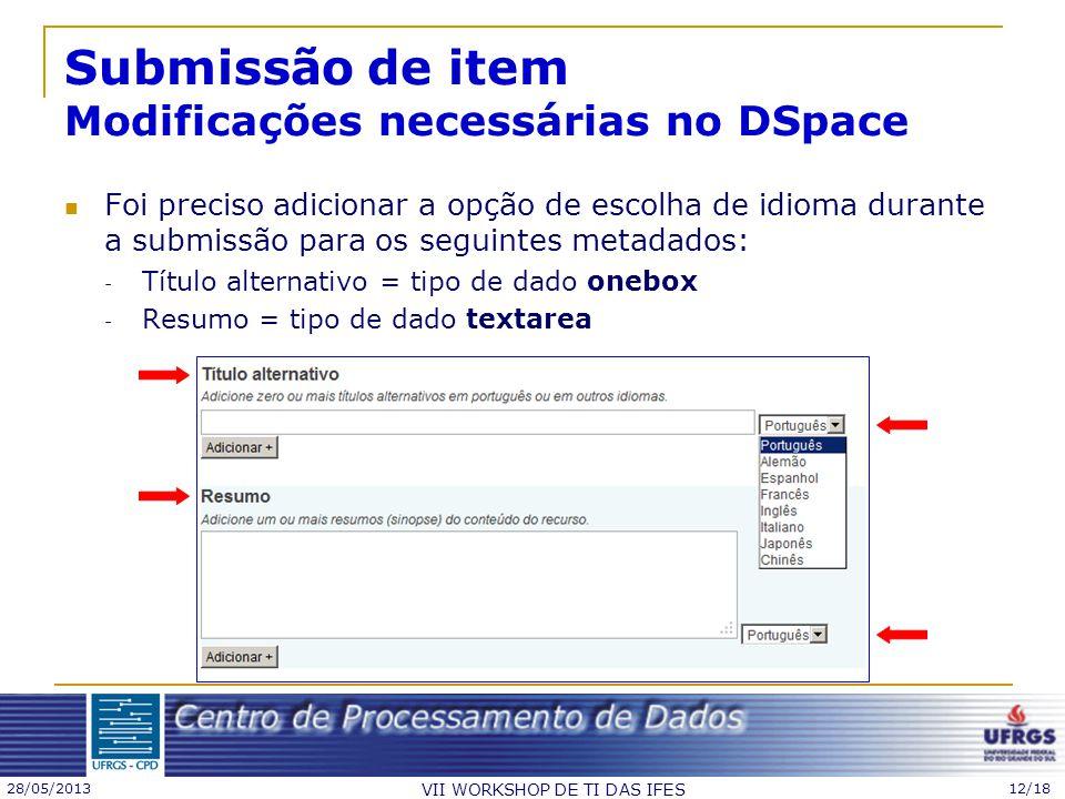 Submissão de item Modificações necessárias no DSpace