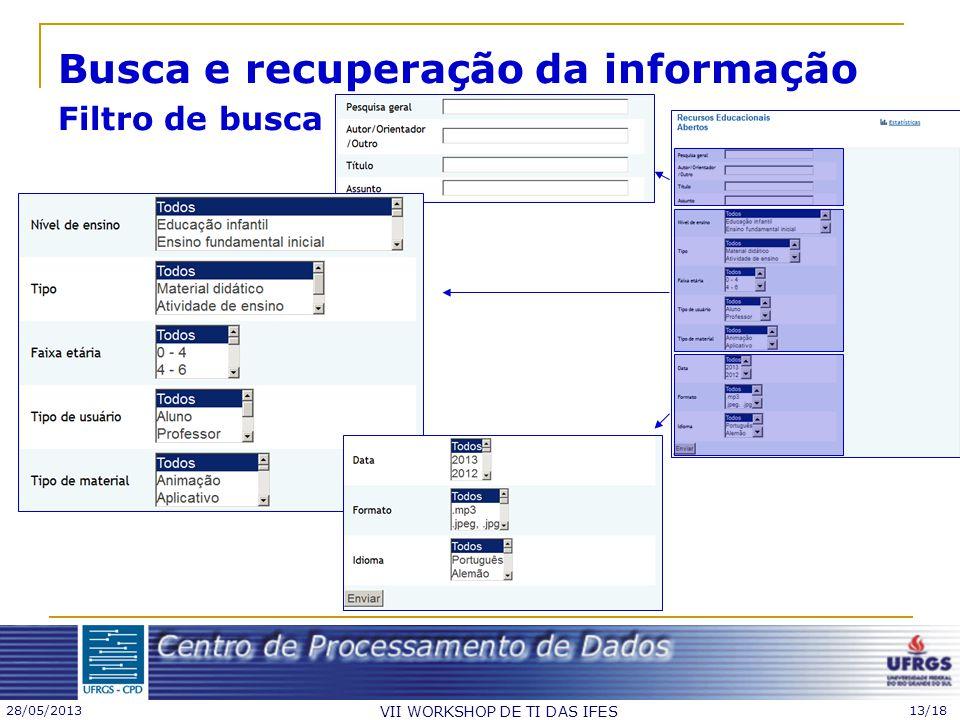 Busca e recuperação da informação Filtro de busca