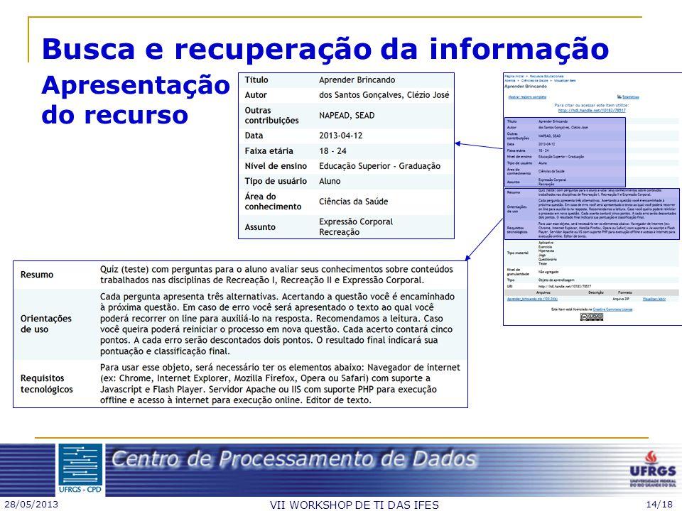 Busca e recuperação da informação Apresentação do recurso