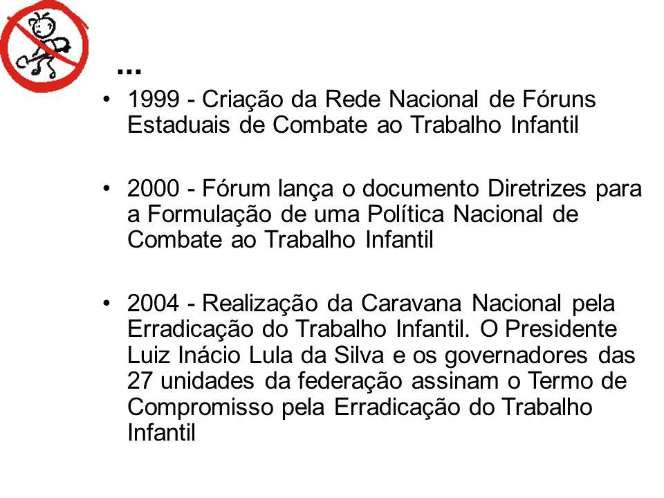 ... 1999 - Criação da Rede Nacional de Fóruns Estaduais de Combate ao Trabalho Infantil.