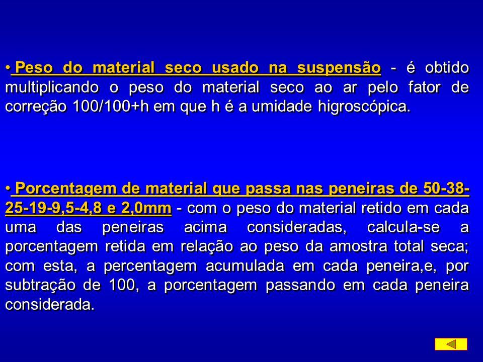 Peso do material seco usado na suspensão - é obtido multiplicando o peso do material seco ao ar pelo fator de correção 100/100+h em que h é a umidade higroscópica.
