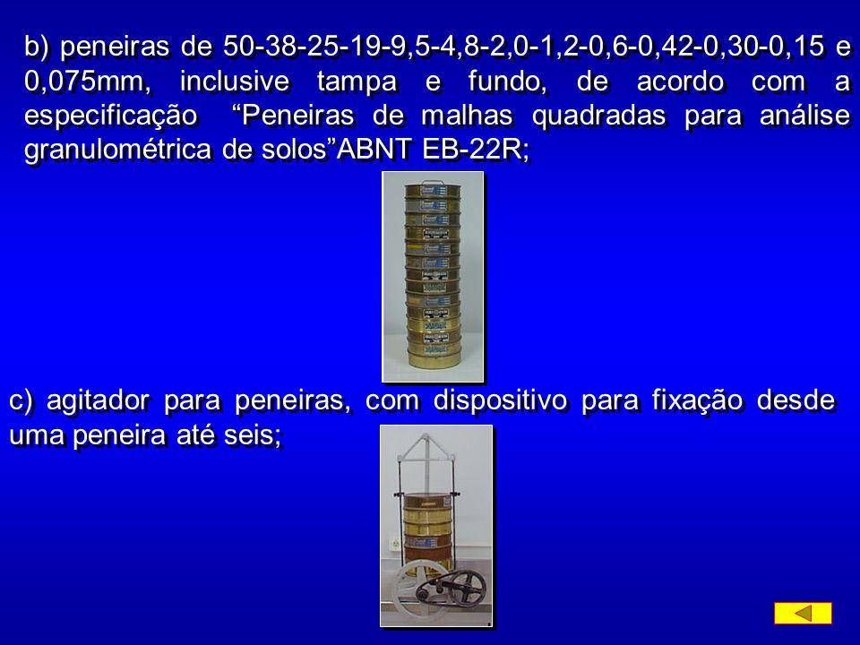 b) peneiras de 50-38-25-19-9,5-4,8-2,0-1,2-0,6-0,42-0,30-0,15 e 0,075mm, inclusive tampa e fundo, de acordo com a especificação Peneiras de malhas quadradas para análise granulométrica de solos ABNT EB-22R;