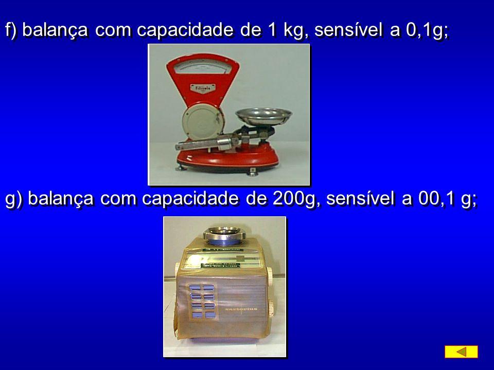 f) balança com capacidade de 1 kg, sensível a 0,1g;