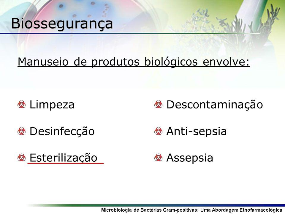Biossegurança Manuseio de produtos biológicos envolve: Limpeza
