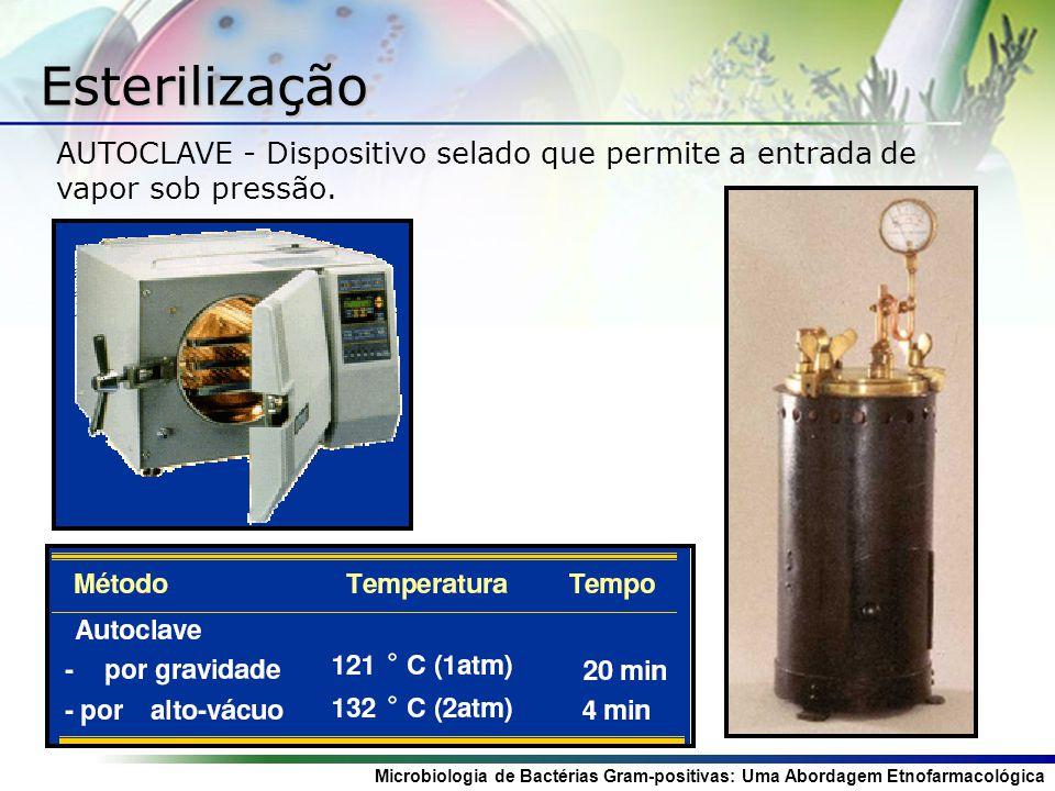 Esterilização AUTOCLAVE - Dispositivo selado que permite a entrada de vapor sob pressão.