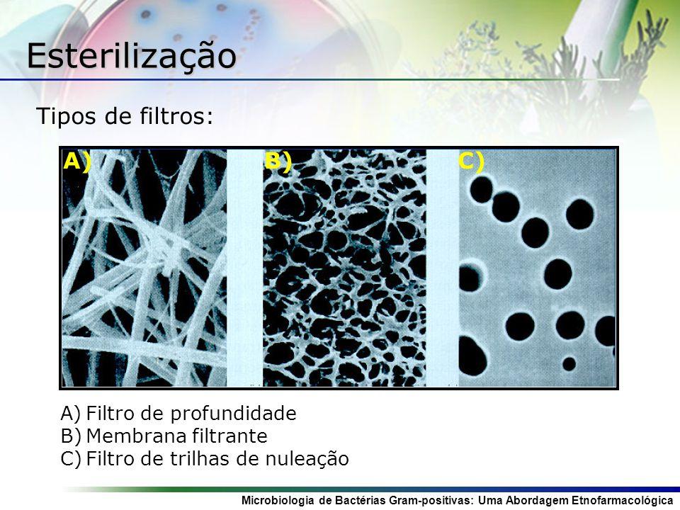 Esterilização Tipos de filtros: A) B) C) Filtro de profundidade
