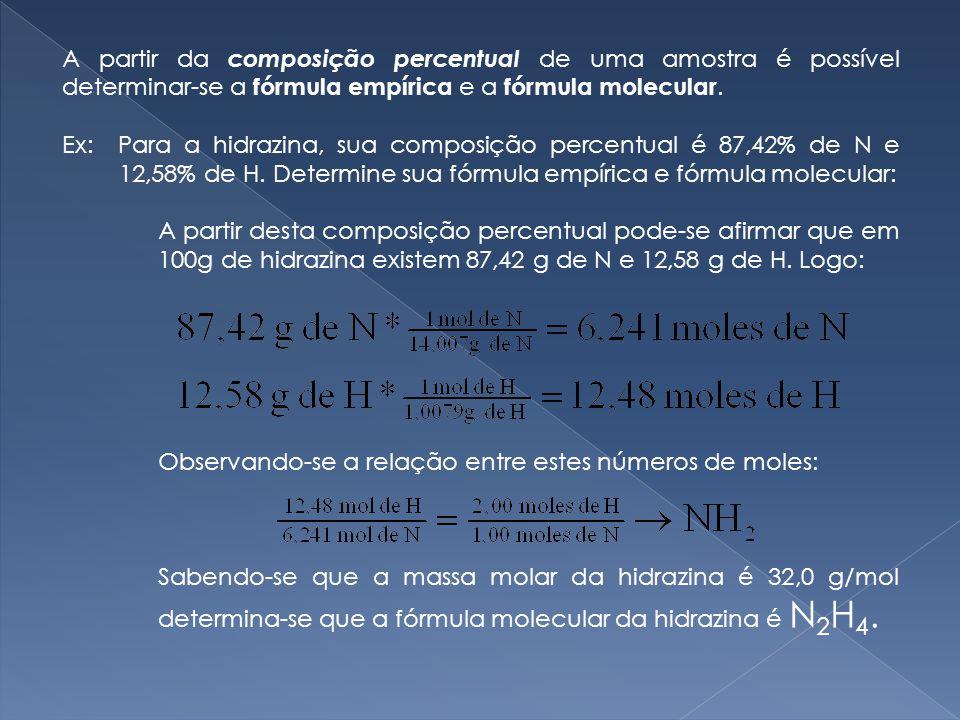 A partir da composição percentual de uma amostra é possível determinar-se a fórmula empírica e a fórmula molecular.