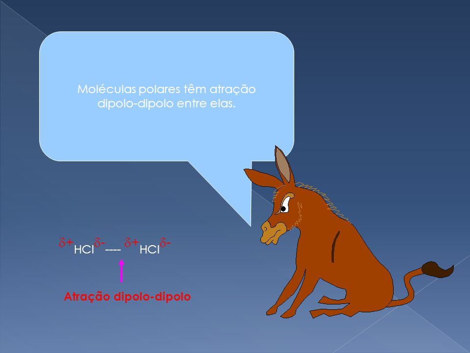 +HCl----- +HCl- Moléculas polares têm atração