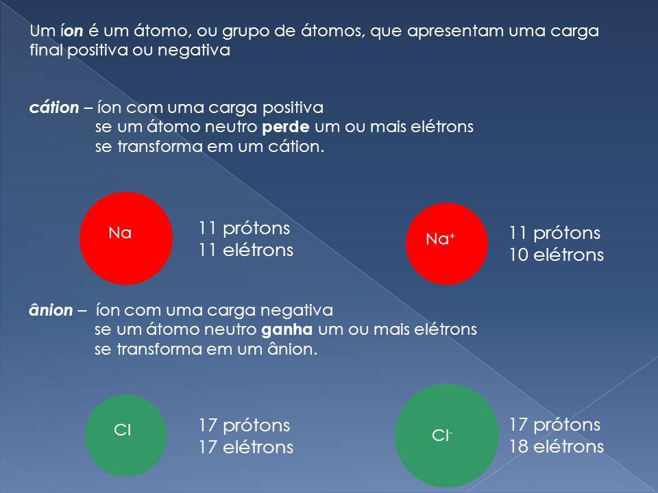 11 prótons 11 prótons 11 elétrons 10 elétrons 17 prótons 17 prótons