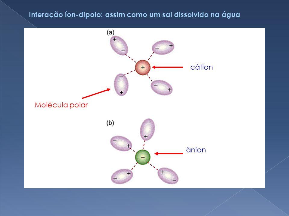 Interação íon-dipolo: assim como um sal dissolvido na água
