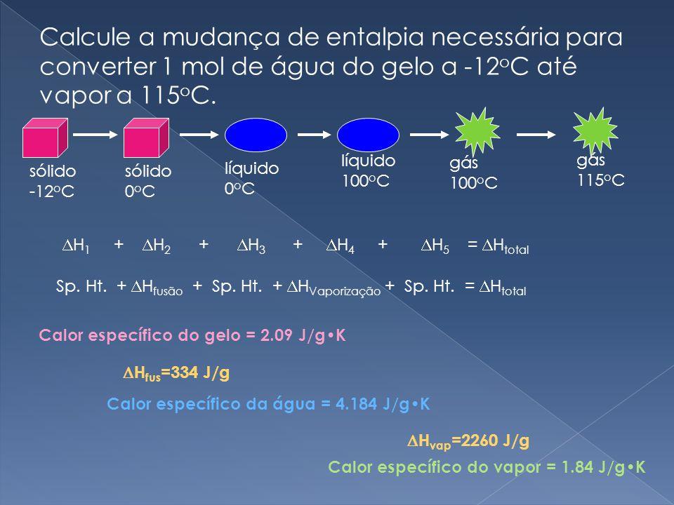 Calcule a mudança de entalpia necessária para converter 1 mol de água do gelo a -12oC até vapor a 115oC.