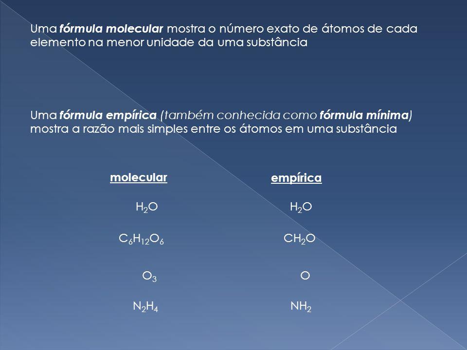Uma fórmula molecular mostra o número exato de átomos de cada elemento na menor unidade da uma substância