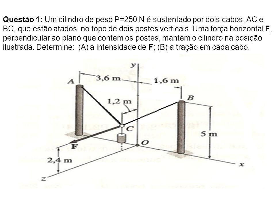Questão 1: Um cilindro de peso P=250 N é sustentado por dois cabos, AC e BC, que estão atados no topo de dois postes verticais.