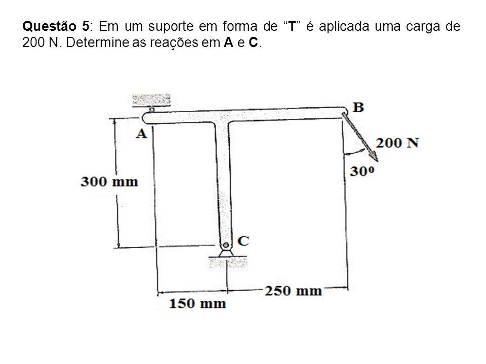 Questão 5: Em um suporte em forma de T é aplicada uma carga de 200 N