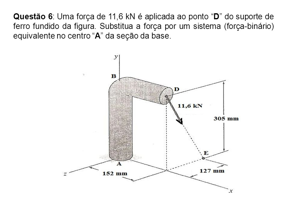 Questão 6: Uma força de 11,6 kN é aplicada ao ponto D do suporte de ferro fundido da figura.