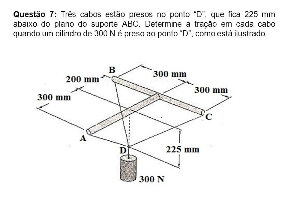 Questão 7: Três cabos estão presos no ponto D , que fica 225 mm abaixo do plano do suporte ABC.