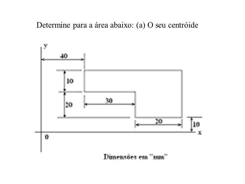 Determine para a área abaixo: (a) O seu centróide