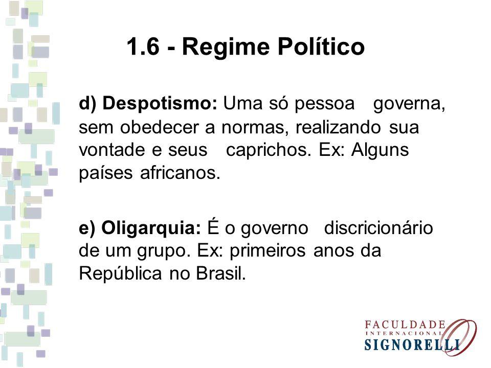 1.6 - Regime Político