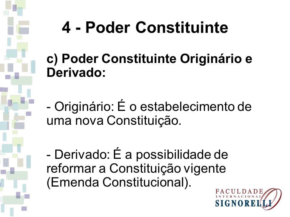4 - Poder Constituinte c) Poder Constituinte Originário e Derivado: