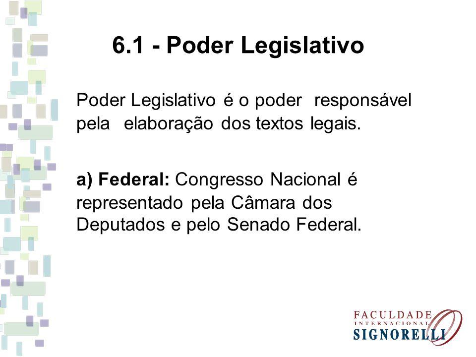 6.1 - Poder Legislativo Poder Legislativo é o poder responsável pela elaboração dos textos legais.