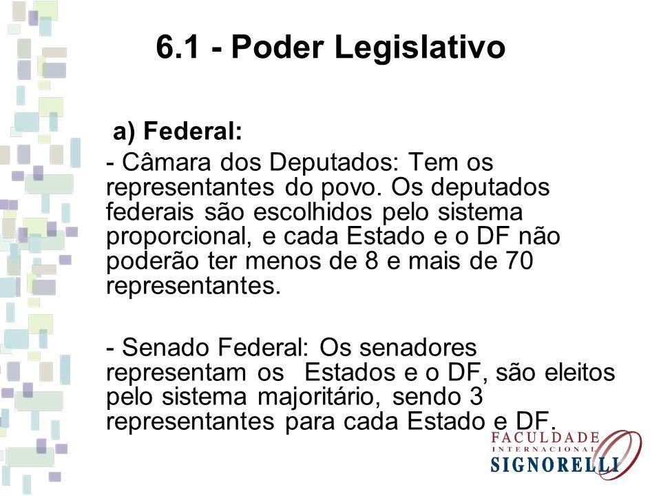 6.1 - Poder Legislativo a) Federal: