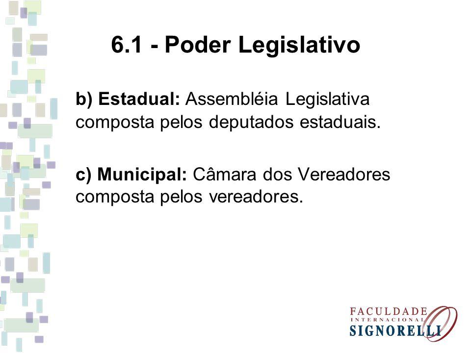 6.1 - Poder Legislativo b) Estadual: Assembléia Legislativa composta pelos deputados estaduais.