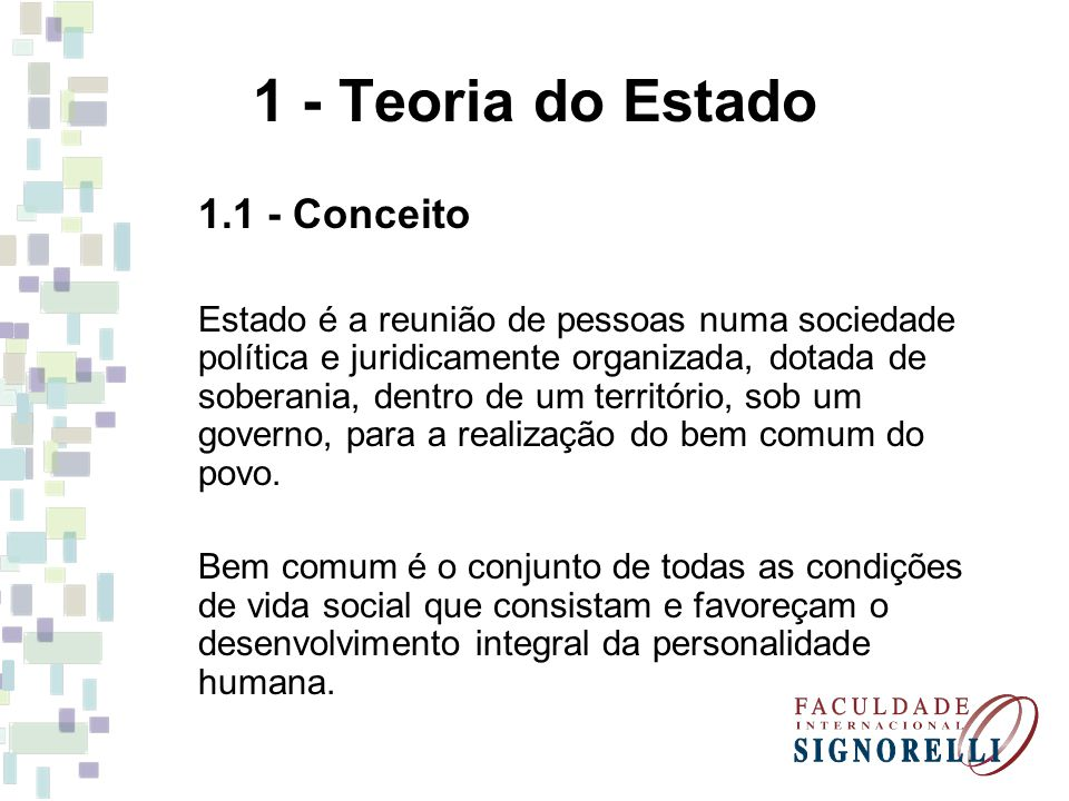 1 - Teoria do Estado Conceito