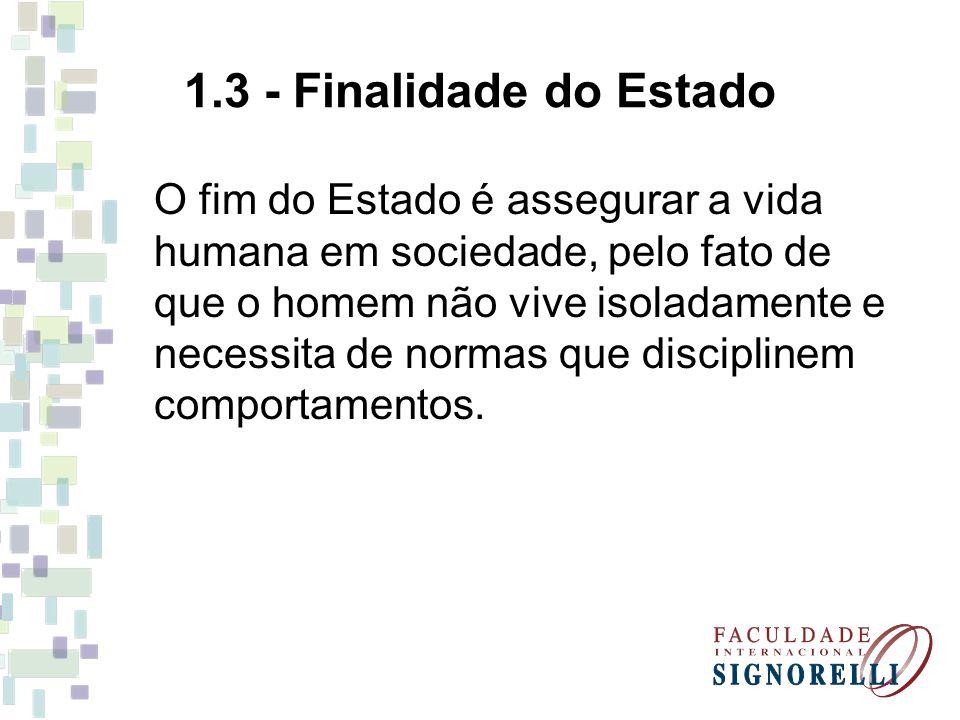 1.3 - Finalidade do Estado