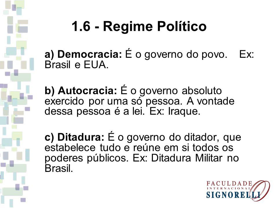 1.6 - Regime Político a) Democracia: É o governo do povo. Ex: Brasil e EUA.