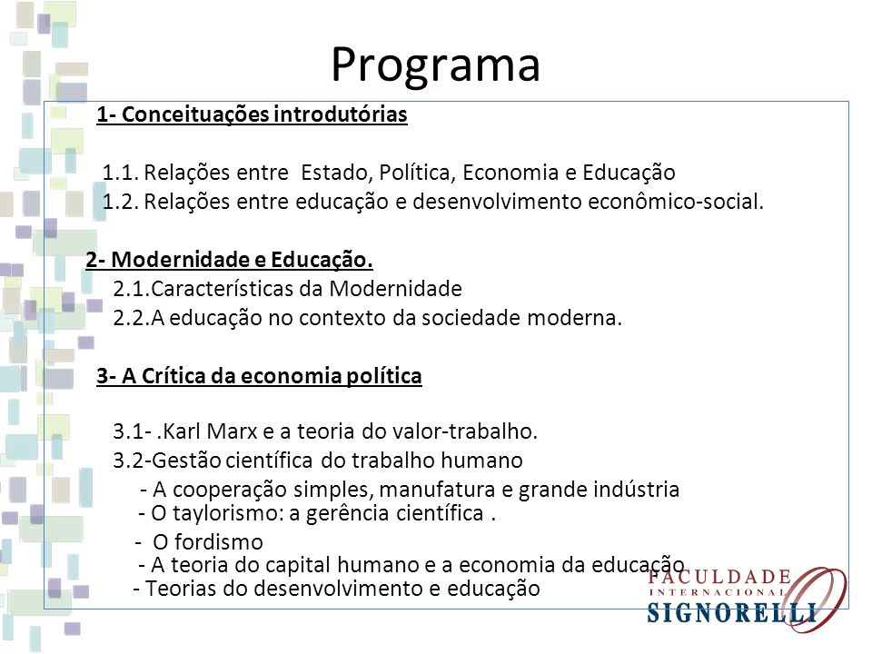 Programa 1- Conceituações introdutórias